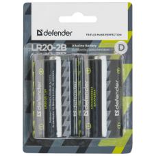 Батарейка Defender алкалиновая D LR20 2шт