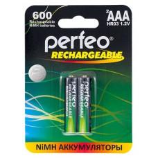 Аккумулятор Ni-Mh 600 мА·ч Perfeo Rechargeable AAA (2 шт в уп-ке)