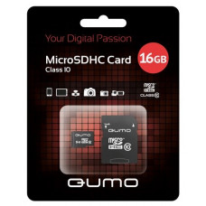 Карта памяти Qumo 16GB microSDHC class 10 + SD adapter