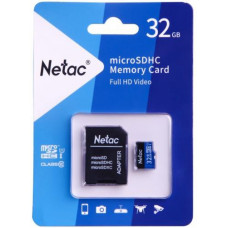 Карта памяти Netac microSDHC 32GB P500 <NT02P500STN-032G-R> с SD адаптером