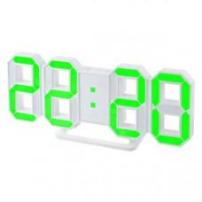 "Часы-будильник Perfeo LED ""LUMINOUS"" PF-663 белый корпус / зелёная подсветка"
